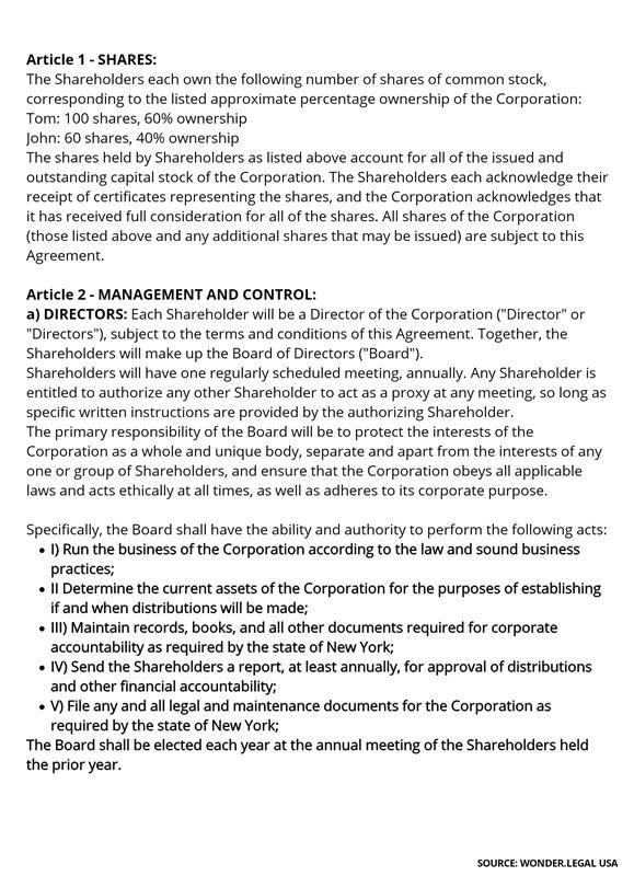 Shareholder Agreement Template-2